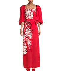johanna ortiz women's embroidered floral maxi dress - imperial red - size 6