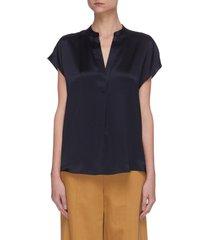 cap sleeve shirred back v neck silk blouse