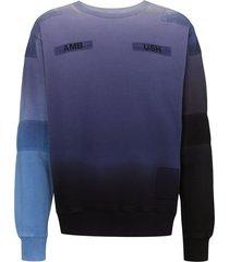 ambush tie-dye patchwork sweatshirt - blue