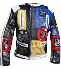 new men's philip plein multicolor studded embroidery patches leather coat jacket