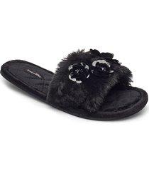 fur top floral lady slipper slippers tofflor svart hunkemöller