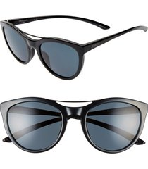 women's smith midtown 53mm chromopop(tm) polarized cat eye sunglasses - black/ black