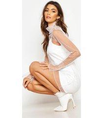 dobby mesh high neck sheer dress, white