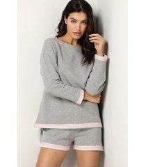conjunto de pijama acuo manga longa folhas de primavera feminino