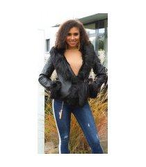 sexy lederlook jas gevoerd met nep bont zwart