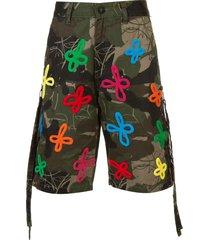 haculla embroidered and printed bermuda shorts - green