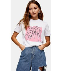 abstract face print t-shirt in white - white
