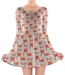foxy - cute fox longsleeve skater dress