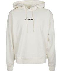 jil sander regular logo print hooded sweatshirt