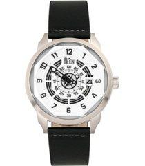 reign lafleur automatic silver case, genuine black leather watch 45mm