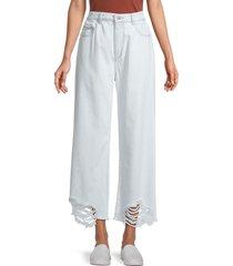 dl1961 women's hepburn high-rise wide-leg jeans - white - size 33 (12)