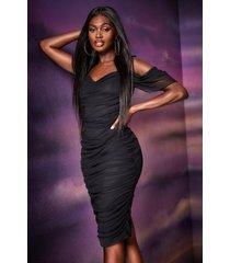 angel sleeve ruched mesh midi dress, black