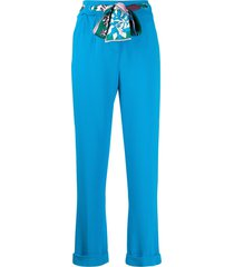 emilio pucci silk scarf belted cropped trousers - blue