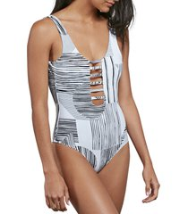 women's volcom out of line one-piece swimsuit, size x-large - black