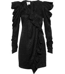 ruffled jacquard mini dress knälång klänning svart designers, remix