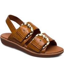 kaia croc print back-strap sandals shoes summer shoes flat sandals brun fitflop