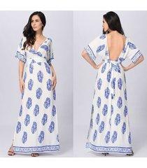 vestido largo de verano para mujer vestidos largos de playa dividida cuello en v túnica sundress vestidos mujer femme-azul