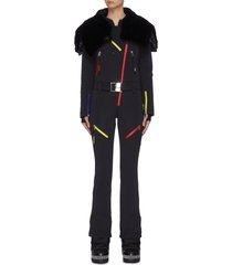 x jcc 'wari' fur hood contrast zipper belted overalls