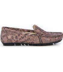 skórzane mokasyny zapato 001 taupe litery