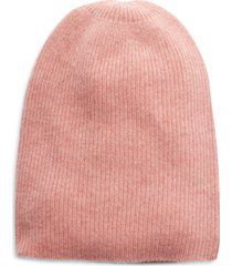 women's halogen ribbed cashmere beanie - pink