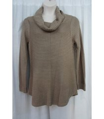 calvin klein sweater woman 2x heather frappe ribbed funnel cowl neck chunky