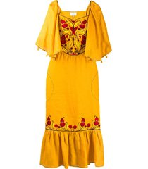 sleeping gypsy embroidered front dress - yellow