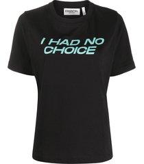 essentiel antwerp slogan-print short-sleeved t-shirt - black