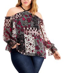 inc international concepts women's patchwork cold-shoulder top, created for macy's