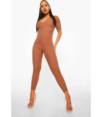 geribbelde jumpsuit met laag decolleté, chocolate