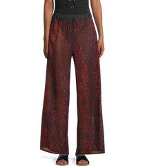 roberto cavalli women's snakeskin-print wide-leg pants - red - size xs