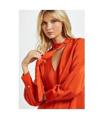 camisa de seda com faixa e fivela no pescoço laranja laranja pierre - 40