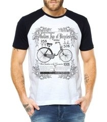 camiseta criativa urbana raglan bicicleta retrô