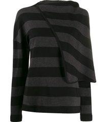 chalayan draped cape top - black