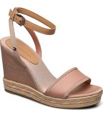 sporty textile high wedge sandalette med klack espadrilles rosa tommy hilfiger