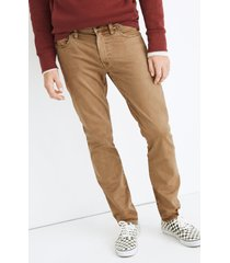men's madewell athletic slim everyday flex sateen jeans, size 31 x 32 - brown