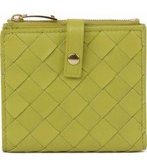 bottega veneta leather wallet with intrecciato design