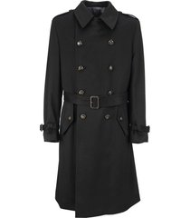 lardini double-breasted camel trench coat with belt