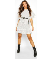 frill sleeve & hem polka dot shift dress, ivory