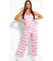 ton-sur-ton oversized tie-dye jumpsuit met wijde pijpen, nude