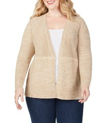 plus size women's foxcroft arizona ottoman open front cotton blend cardigan, size 3x - ivory