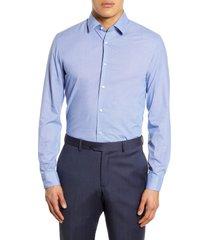 men's boss slim fit solid dress shirt, size 16 - blue