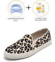 sapatênis sara paiva slip leopardo + skincare