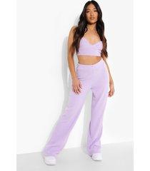 petite geribbelde bralette en wide leg broek lounge set, lilac