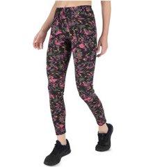 calça legging oxer abstrato - feminina - preto/rosa
