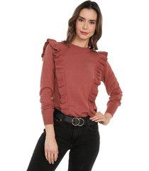 blusa arandelas frente cuello redondo giive - oma507-guayaba
