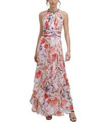 calvin klein embellished tiered halter gown