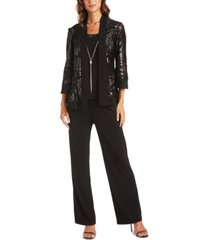 r & m richards 3-pc. metallic jacket, necklace top & pants set