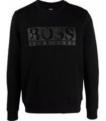 boss studded-logo rib-trimmed sweatshirt - black