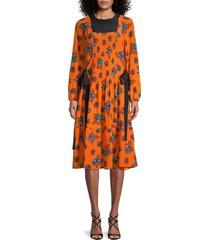 redvalentino women's silk floral dress - orange - size 38 (6)