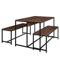 conjunto de mesa de jantar retangular com 2 bancos   banquetas easy castanho e preto